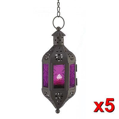5 Hanging Mystical Moroccan Purple Glass Lanterns