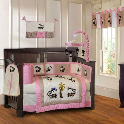 BabyFad 10 Piece Monkey Girl PInk Baby Crib Bedding set