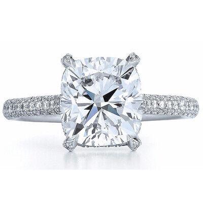 GIA Certified Diamond Engagement Ring 3.35 Carat total Natural Cushion Platinum