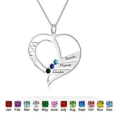 Custom Heart Birthstone Name Necklace Personalised Family Gift for Mom Jewelry - Personalized Gift