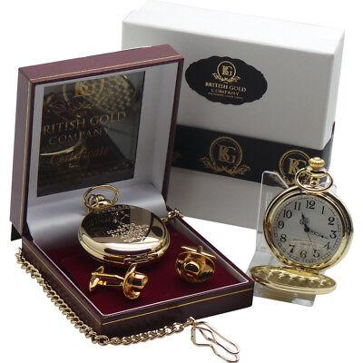 JOHN WAYNE POCKET WATCH Signed Quote Cowboy Hat Cufflinks Luxury Gift Set Box