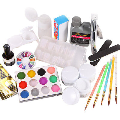 Acryl starter Set 12 Farbe Puder Flüßigkeit Tips Nailart