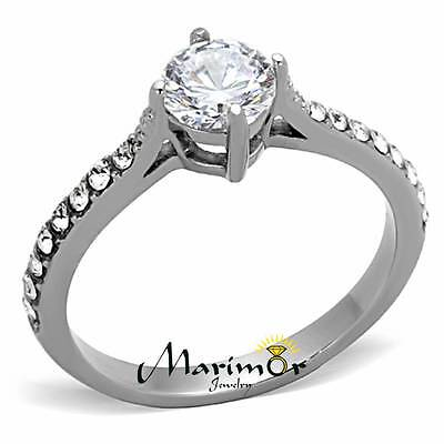 1CT CUBIC ZIRCONIA SILVER STAINLESS STEEL ENGAGEMENT WEDDING RING WOMENS SZ 5-10 (1 Ct Cubic Zirconia)