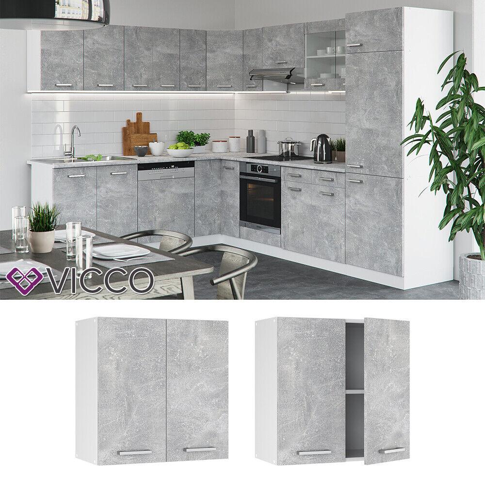 VICCO Küchenschrank Hängeschrank Unterschrank Küchenzeile R-Line Hängeschrank 60 cm beton