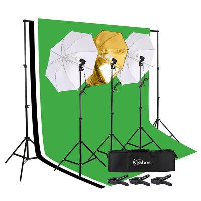 - Photo Photography Umbrella Lighting Kit Studio Light Bulb Muslin Backdrop Stand