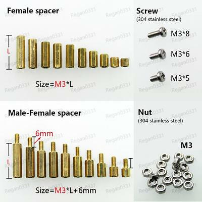 2550100pcs Brass M3 Hex Column Standoff Support Spacer Screw Nut For Pcb Board