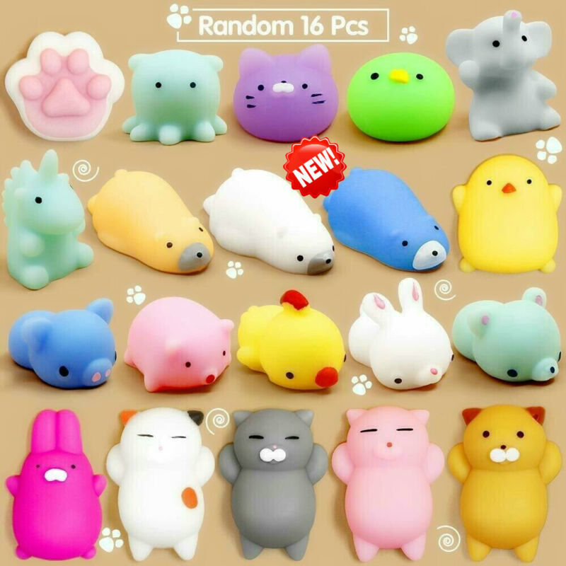 16 Pcs Squishy Toys Stress Relief Animal Toys Squeeze