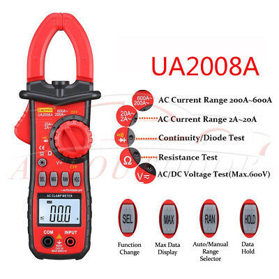 600v Digital Clamp Meter Multimeter Acdc Volt Amps Ohm Current Tester