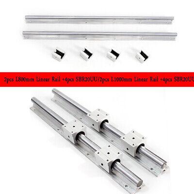 Sbr20-8001000mm Linear Slide Guide Shaft 2 Rail4sbr20uu Bearing Block Cnc Set