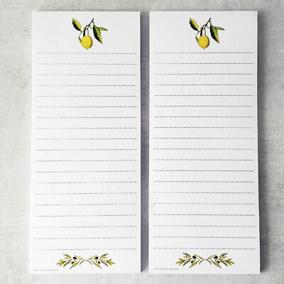 Lemon And Olive Branch Refrigerator Notepads. Set Of 2. Magnetic Grocery Lists