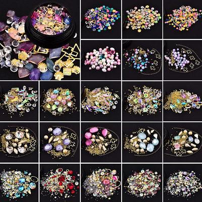 DIY 3D Nail Art Tip Mixed Bead Rhinestones Glitters Diamonds Gold Ball Gems Gift - Christmas Glitter