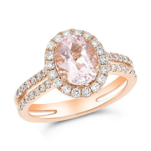 14k Rose Gold Pave Diamond Pink Oval Morganite Halo Engagement Cocktail Ring