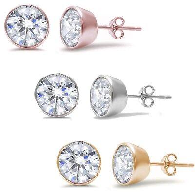 Round Bezel Set Cubic Zirconia .925 Sterling Silver Earring THREE COLORS Cubic Zirconia Bezel Set Earrings