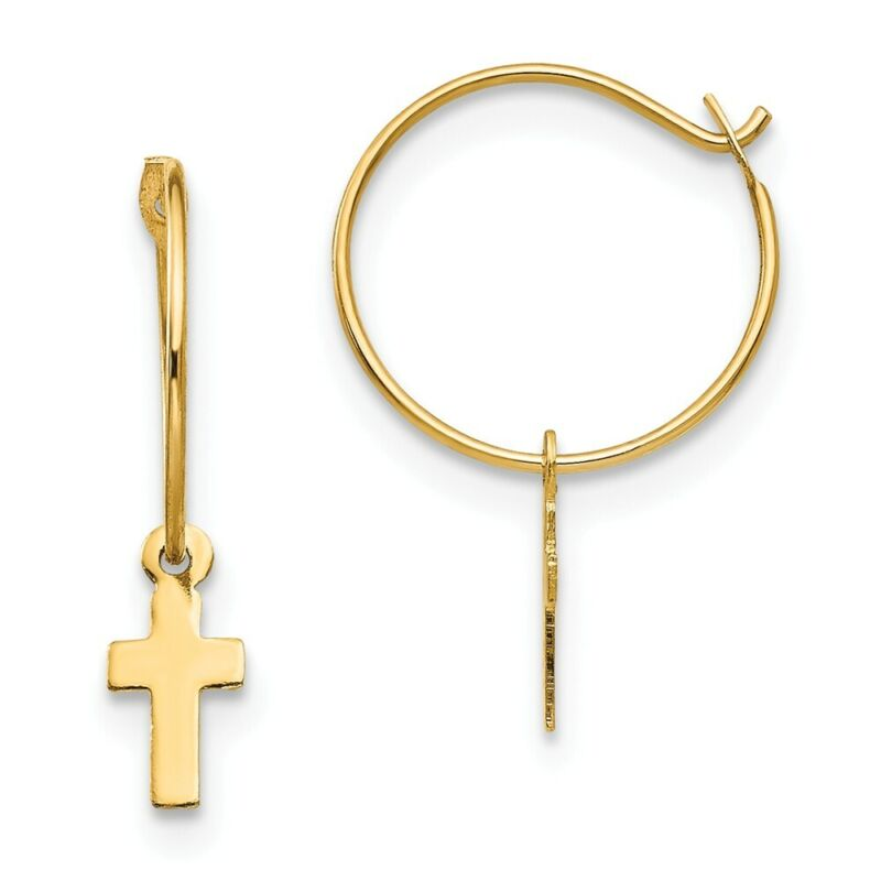Quality Gold SE342 18 mm 14K Yellow Gold Madi K Endless Hoop with Small Cross Ea