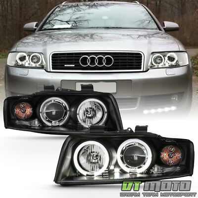 2002-2005 Audi A4 S4 B6 LED Halo Blk 1-Piece Projector Headlights Headlamps Set