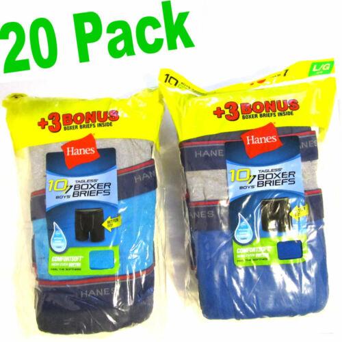 "HUGE 20-Pack Hanes Boys L TAGLESS Boxer Briefs Underwear ComfortSoft 26.5-29.5"""