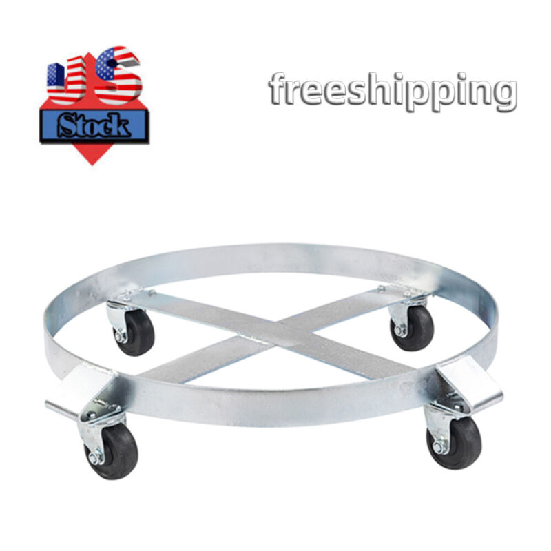 Drum Dolly 1000 Lb - 55 Gallon Swivel Casters Wheel Steel Frame Non Tipping