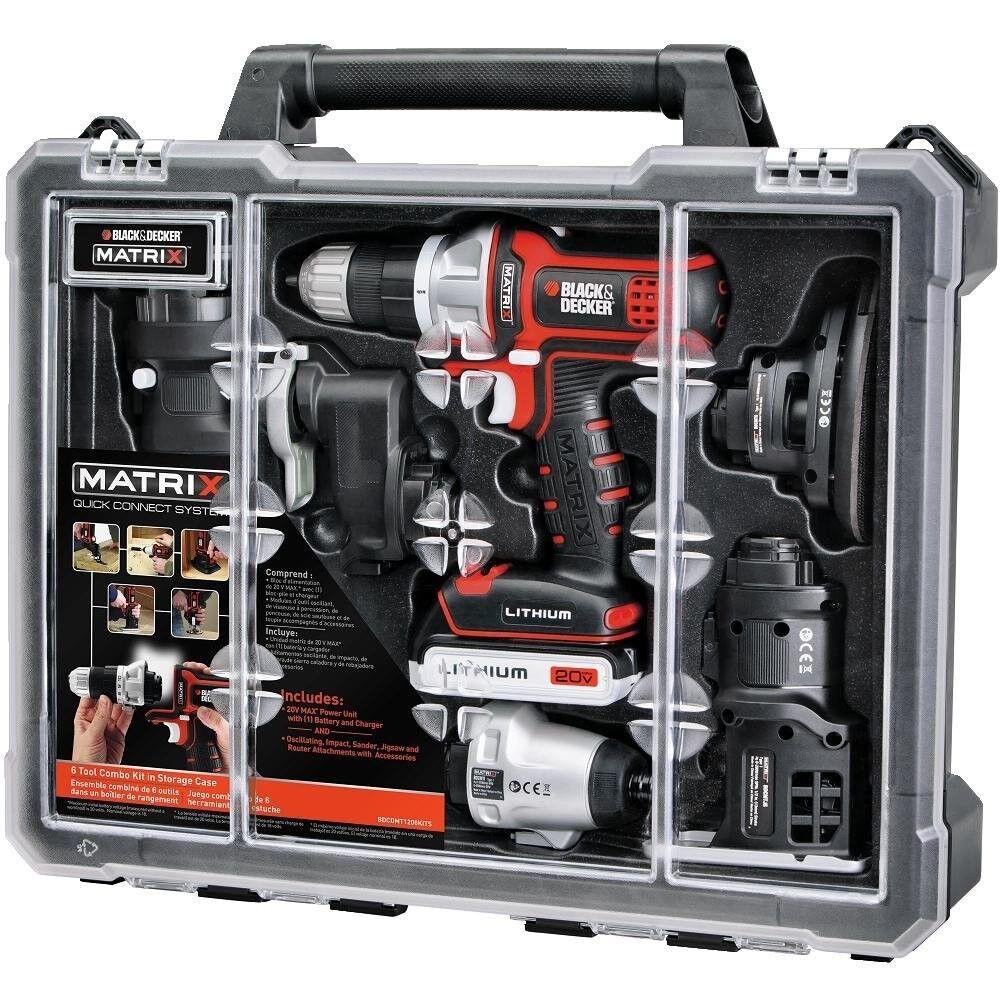 BLACK+DECKER Matrix 6 Tool Combo Kit with Case Powerful 20V
