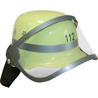 Gelber Feuerwehr Helm mit Visier für Kinder Kostüm Feuerwehrmann Jungen Sam (Feuerwehrmann Kostüme Für Jungen)