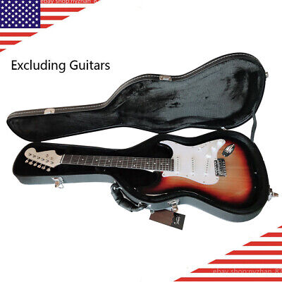US ST Electric Guitar Wood Hard Case Padded Microgroove Flat Surface&Lock Handle