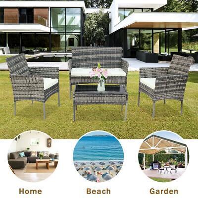 Garden Furniture - Patio Wicker Furniture Outdoor 4PC Rattan Sofa Garden Conversation Set, Gray
