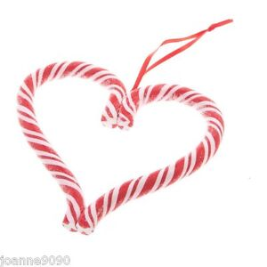 GISELA GRAHAM FESTIVE STRIPED CANDY CANE HEART SWEET CHRISTMAS TREE DECORATIONS