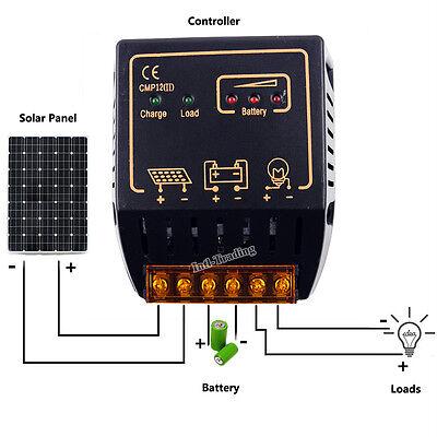 12V/24V 10A PV Solar Panel Charge Controller Battery Regulator Safe Protection for sale  Los Angeles