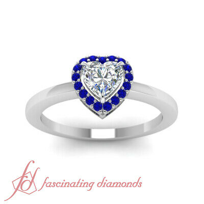 .60 Ct Heart Shaped FLAWLESS Diamond & Blue Sapphire Halo Engagement Ring GIA 1