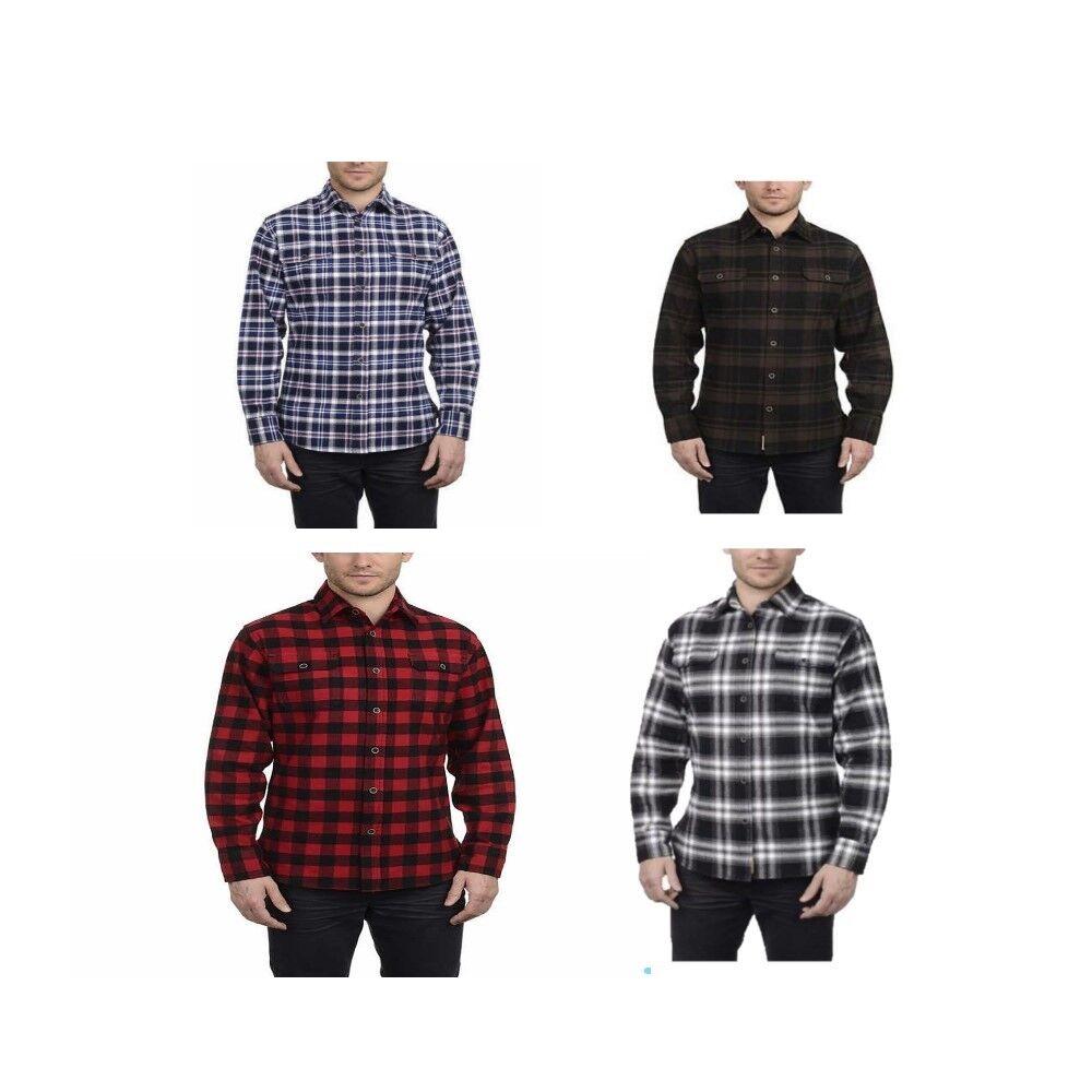Jachs Men's Brawny Flannel Work Shirt Cotton Button-Down VAR