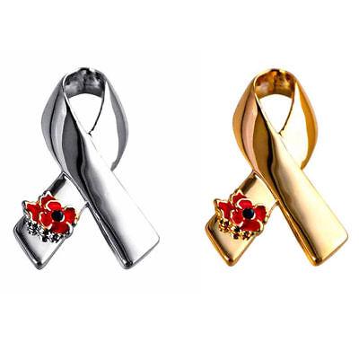 Gold/Silver Plated Flower&Ribbon AIDS HIV AWARENESS Pin Lapel Brooch - Hiv Ribbon