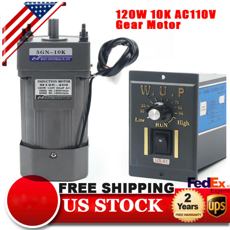 110V 120W AC gear motor electric variable speed Reduction controller 1:10 135RPM