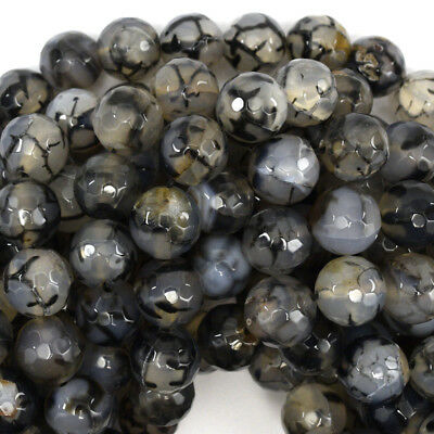 Faceted Black Dragon Vein Agate Round Beads 14.5