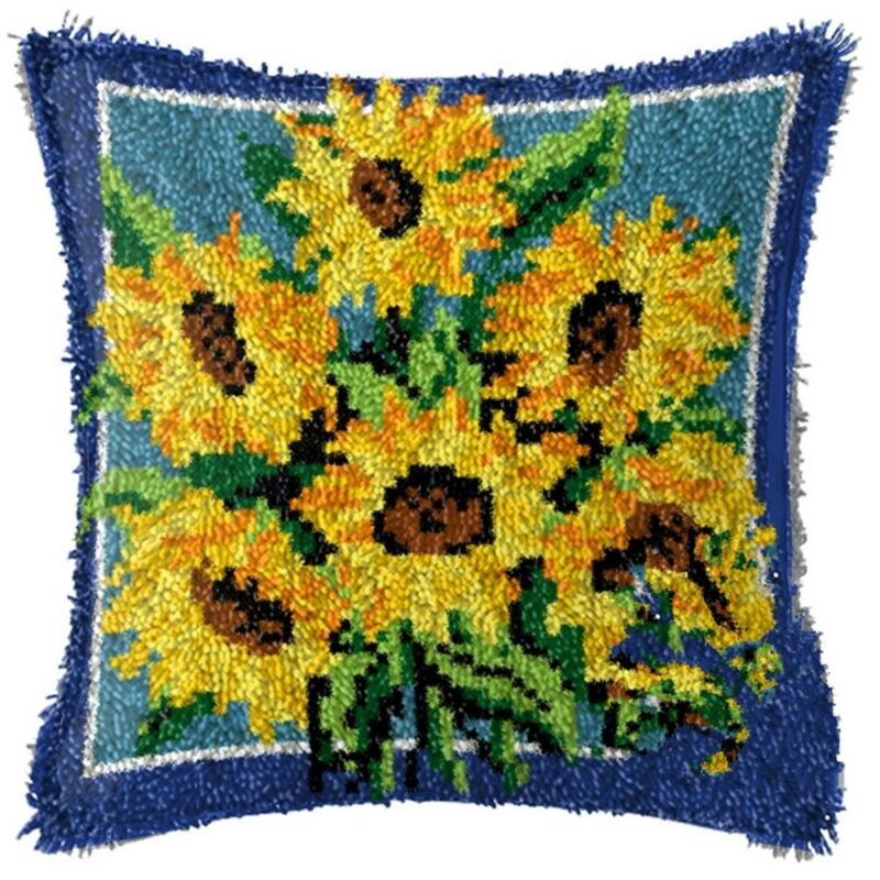 LATCH HOOK PILLOW KIT - 15.7 X 15.7 INCHES -  SUNFLOWERS