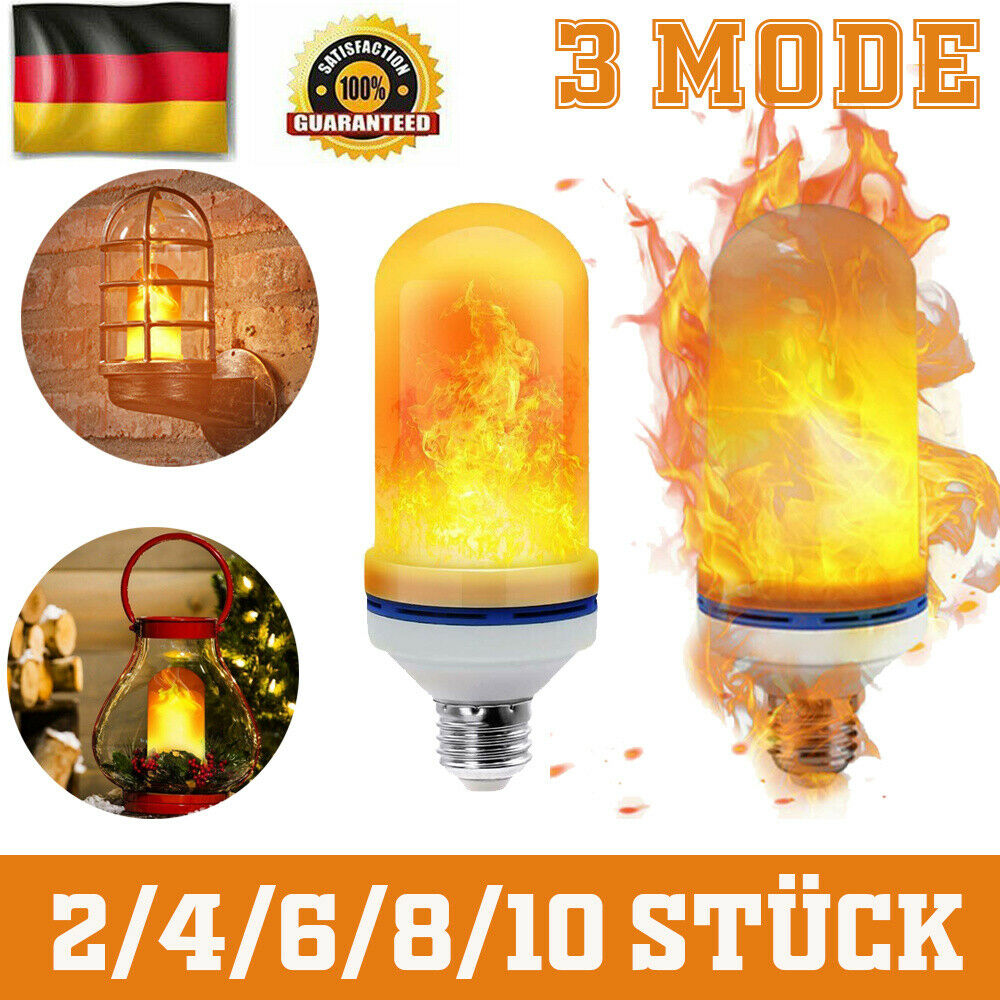 NEU LED Lampe Fackel Feuer Licht Flammen Effekt Glühbirne Flacker Birne Xmas DE