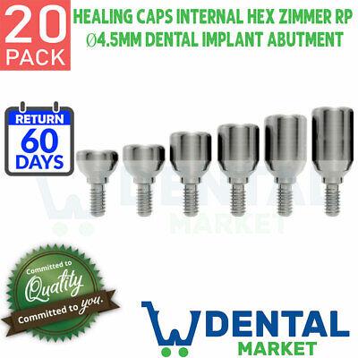 X 20 Healing Cap Caps Internal Hex Zimmer Rp 4.5mm Dental Implant Abutment