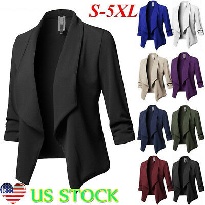 Women Slim Casual Blazer Jacket Top Outwear Long Sleeve Career Formal Short -