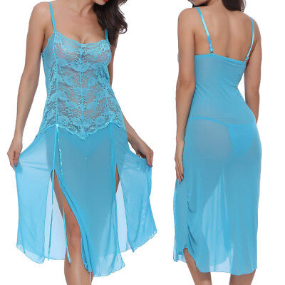 US Women Sexy Lingerie Long Sheer Lace Gown See-Through Sleepwear  Dress US