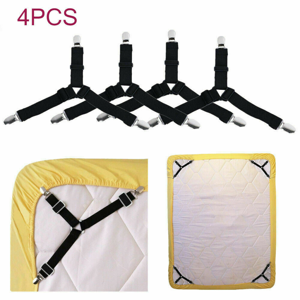 4PCS Bed Suspender Strap Mattress Fastener Holder Triangle Grippers Sheet Clips