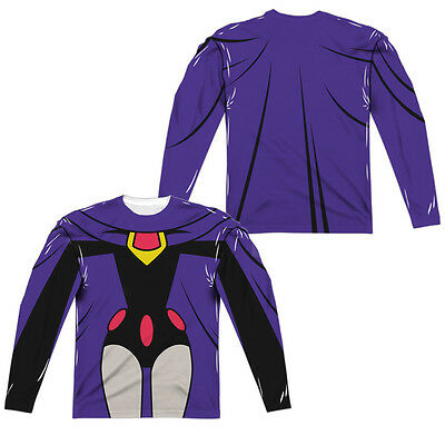 TEEN TITANS GO RAVEN COSTUME Men's Long Sleeve Halloween Tee Shirt F/B - Raven Teen Titans Halloween Costume