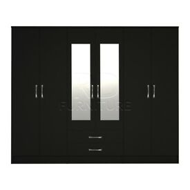 Hampton wardrobe 4 you, 2,28m wide 6 door black wardrobe