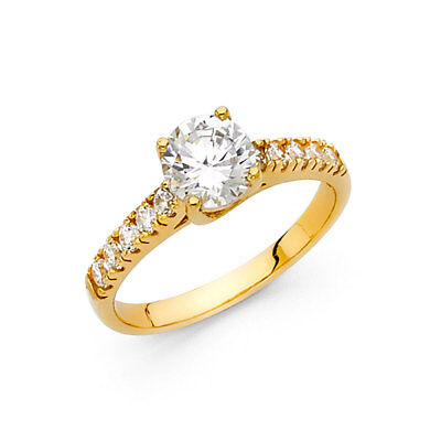 Real 14k Yellow Gold Prong Set Solitaire CZ Engagement Comfort Fit Ring Band Her Comfort Fit Solitaire Setting