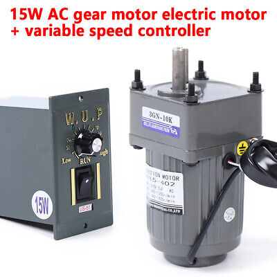 15w 110v Reversible Gear Motor Electric Variable Speed Controller 125rpm Single