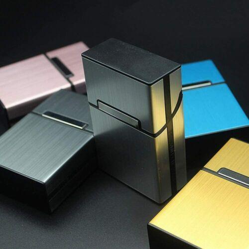 Brushed Aluminum Grey Metal Cigar Cigarette Box Pocket Tobacco Storage Case