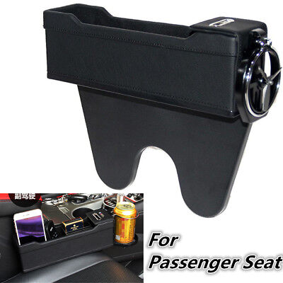 Leather Console Pocket Car Organizer Passenger Seat Box Catcher Cup Holder Black