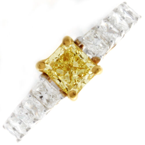 6.00 CTW Radiant cut Diamond Engagement Ring Fancy Yellow GIA certified 18K Gold