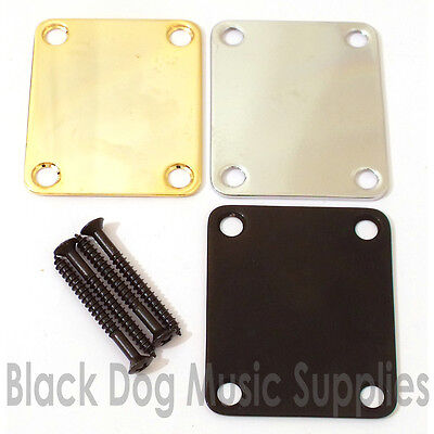Guitar Neck Joint Plate chrome, Black or gold  51mm x 64mm