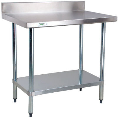 24 X 36 Stainless Steel Nsf Commercial Kitchen Work Table With 4 Backsplash
