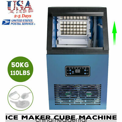 Usa Commercial Ice Maker Cube Machine Stainless Bar 110lbs24h 230w 110v Fda A