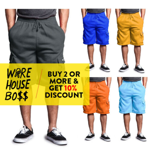 Dreamusa Mens Plain Cargo Shorts 5 Pocket Heavyweight Casual Fleece Shorts
