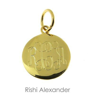 14k Gold Overlaying 925 Sterling Silver Monogram Personalized Round Pendant